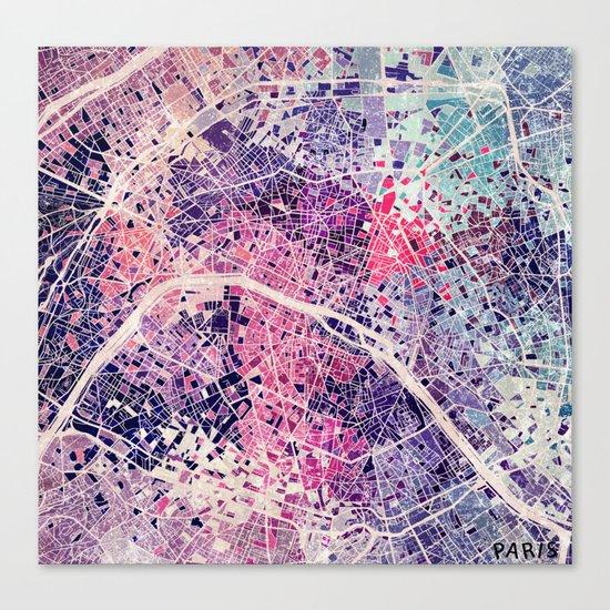 Paris Mosaic map #1 Canvas Print