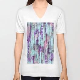 Bohemian Tie Dye Abstract Cool Colors Unisex V-Neck