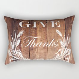 rustic western country barn wood farmhouse wheat wreath give thanks Rectangular Pillow