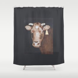 Gold Earring - Cow portrait Shower Curtain