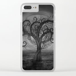 Golden Spiral Tree Black and White Clear iPhone Case