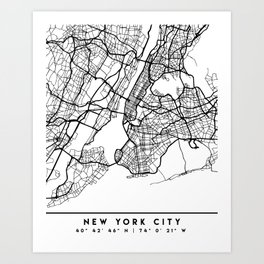 NEW YORK CITY NEW YORK BLACK CITY STREET MAP ART Art Print