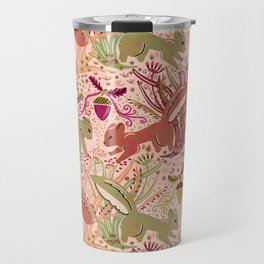 Squirrel in Woodland Fern Forest , Cute Squirrels Love hidden among the Acorn Nuts & Plants Travel Mug