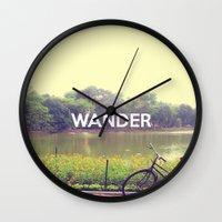 wander Wall Clocks featuring Wander by bajitamaria