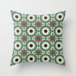 Decorative Christmas patterns in red, green and white Throw Pillow