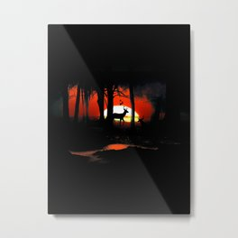 Sunset in forest Metal Print