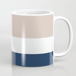 Three Colors Contemporary Stripes (Beige & Blue) Coffee Mug