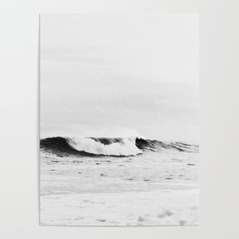 Minimalist Black and White Ocean Wave Photograph Poster