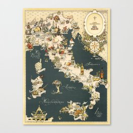 Gastronomic Map of Italy 1949 Canvas Print