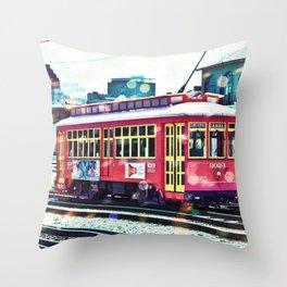 Bokeh Streetcar Throw Pillow