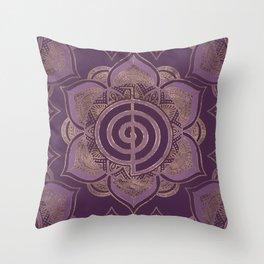 Reiki Cho Ku Rei - pastel and gold Throw Pillow