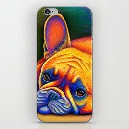 Colorful French Bulldog Rainbow Dog Pet Portrait iPhone Skin