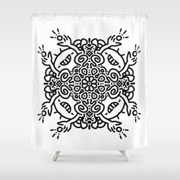 Hold it high - joyful mandala - black and white doodle Shower Curtain
