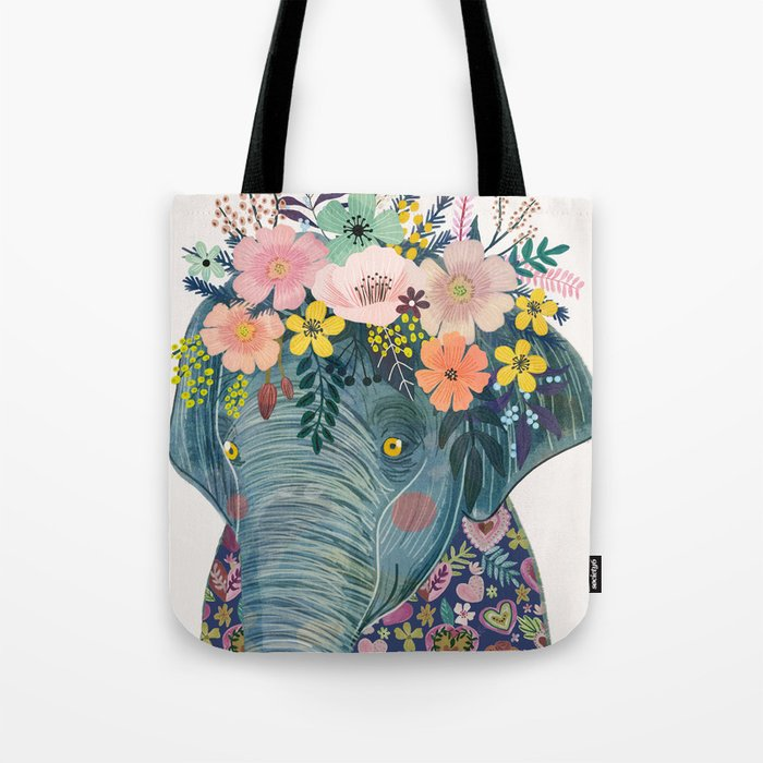 Elephant with flowers on head Tote Bag