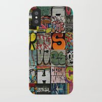 grafitti iPhone & iPod Cases featuring grafitti collage by laika in cosmos
