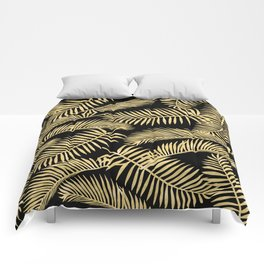 Palm Leaf Pattern Gold And Black Comforters