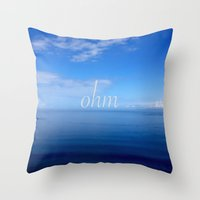ohm Throw Pillows featuring Om  by Tru Images Photo Art