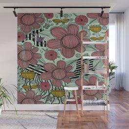 Whimsical Folk Flower Design Wall Mural