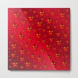 happy, smiling smileys on stars in rich red Metal Print