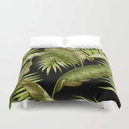 HAWAIIAN GARDEN TROPICAL LEAVES| black green Duvet Cover
