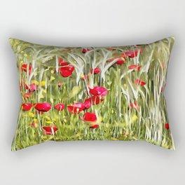 Red Corn Poppies Rectangular Pillow