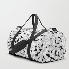 Digital Sponge Texture made up of  white bubbles on a black background Duffle Bag