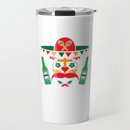 Cinco De Mayo Sugar Skull With Beer Mexican Holiday Gift Design Travel Mug