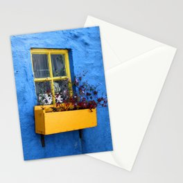 FLOWER - BOX - YELLOW - BLUE - WALL - PHOTOGRAPHY Stationery Cards