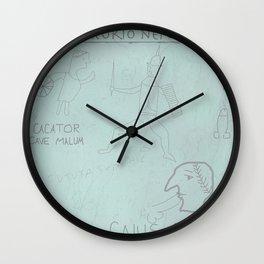 Ancient Roman Graffiti (Blue) Wall Clock