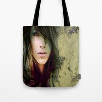 sylvia plath Tote Bags featuring Sylvia by Robin Curtiss