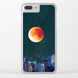 Blood Moon over Denver Colorado Skyline Clear iPhone Case