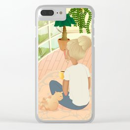 girl with cat relaxing at home looking out the window Clear iPhone Case