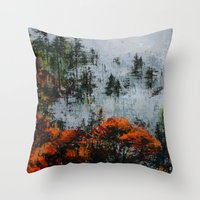 twin peaks Throw Pillows featuring Twin Peaks  by Olga Krokhicheva