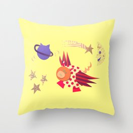 flying pig purple planet  Throw Pillow