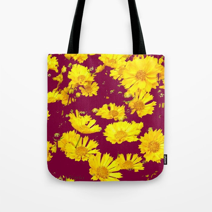 BURGUNDY-YELLOW  FLORAL COREOPSIS  PATTERN ART Tote Bag
