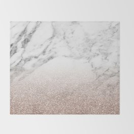 Marble sparkle rose gold Throw Blanket