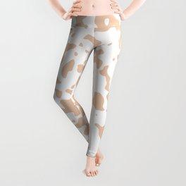 Spots - White and Desert Sand Orange Leggings