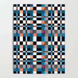 Blue white orange geometric pattern . In the cage Poster