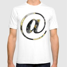 At Sign {@} Series - Baskerville Typeface SMALL White Mens Fitted Tee