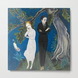 The Couple atop the Cliff portrait painting by Nils Dardel Metal Print