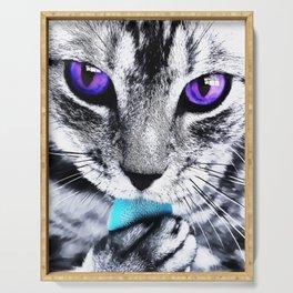 Purple eyes Cat Serving Tray