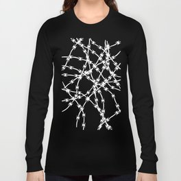 Trapped White on Black Long Sleeve T-shirt