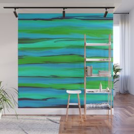 Apple Green, Seafoam, and Azure Blue Stripes Abstract Wall Mural