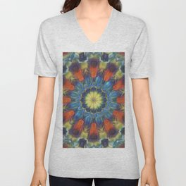 Abstract bold floral madala Unisex V-Neck