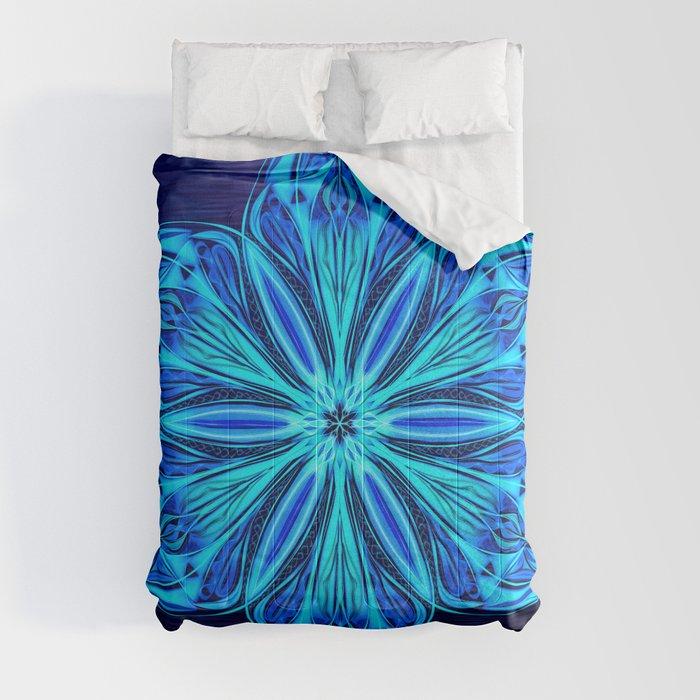Snowy Cerulean Sea Comforters