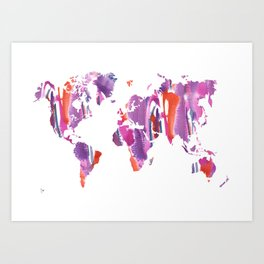 Watercolor World Map (purple/orange/blue) Art Print