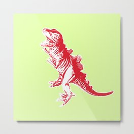 Dino Pop Art - T-Rex - Lime & Red Metal Print
