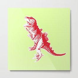 Dino Pop Art - T-Rex - Lime & Red Metal Print