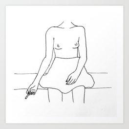 Boobs and cigs Art Print