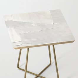 Relief [1]: an abstract, textured piece in white by Alyssa Hamilton Art Side Table